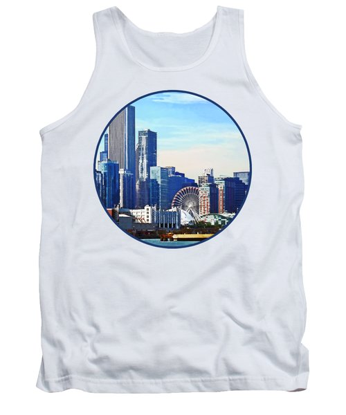 Chicago Il - Chicago Skyline And Navy Pier Tank Top by Susan Savad
