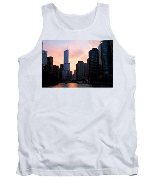 Chicago Skyline At Dusk Tank Top