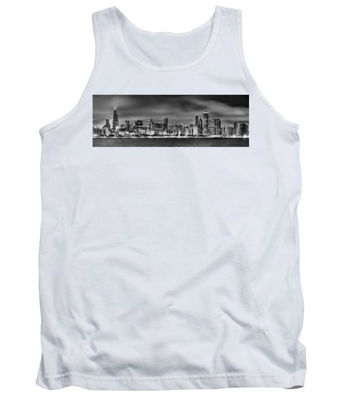 Chicago Skyline At Night Black And White Tank Top