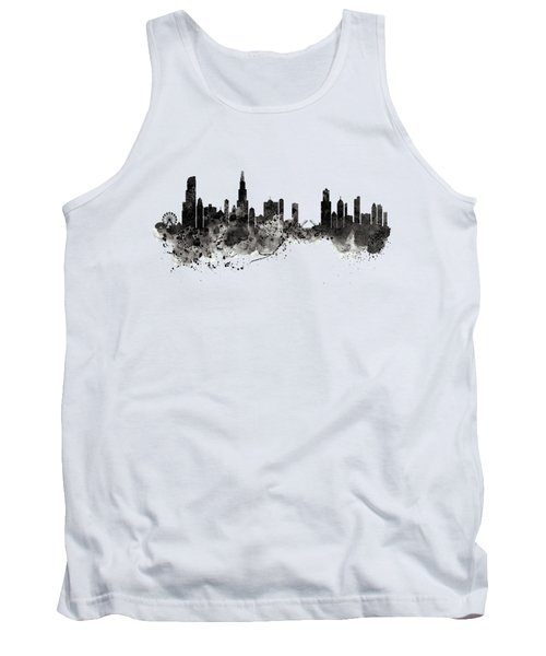 Tank Top featuring the digital art Chicago Skyline Black And White by Marian Voicu