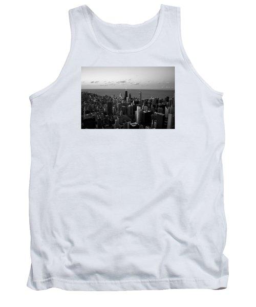 Chicago Skyline Bw Tank Top by Richard Zentner