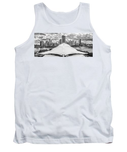 Tank Top featuring the photograph Chicago Skyline From Navy Pier Black And White by Adam Romanowicz