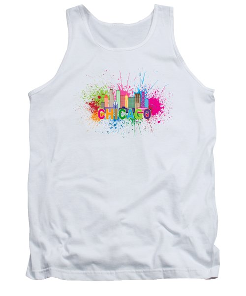 Chicago Skyline Paint Splatter Text Illustration Tank Top by Jit Lim