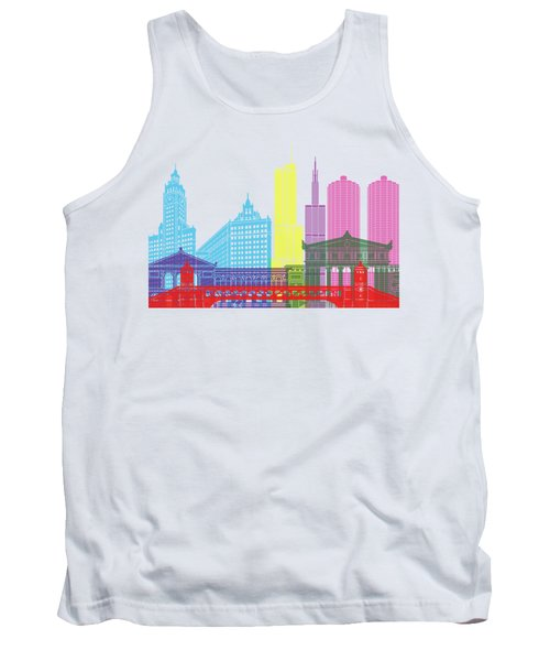 Chicago Skyline Pop Tank Top by Pablo Romero