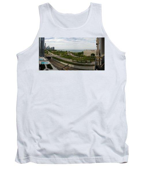 Chicago Skyline Showing Monroe Harbor Tank Top by Michael Bessler