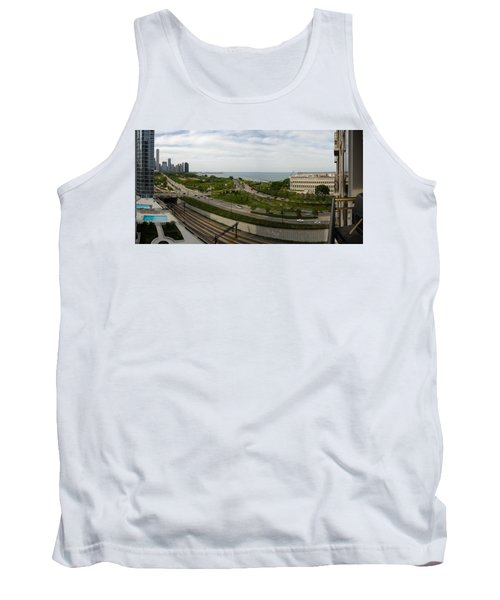 Chicago Skyline Showing Monroe Harbor Tank Top