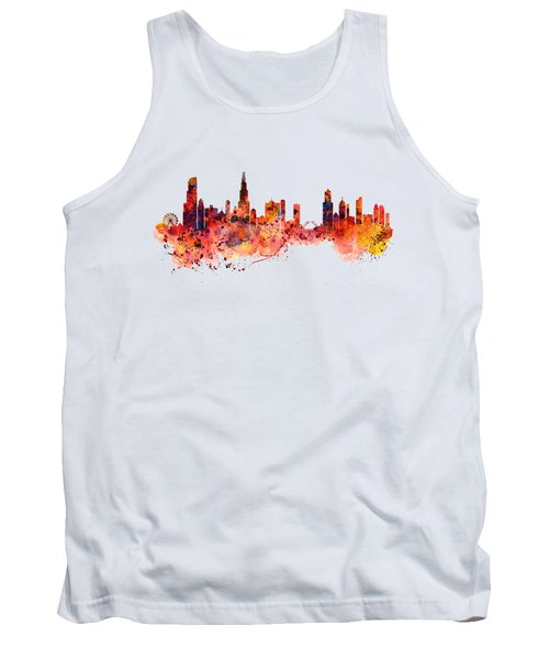 Chicago Watercolor Skyline Tank Top