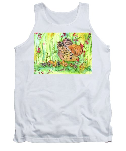 Tank Top featuring the painting Chicken Family by Cathie Richardson
