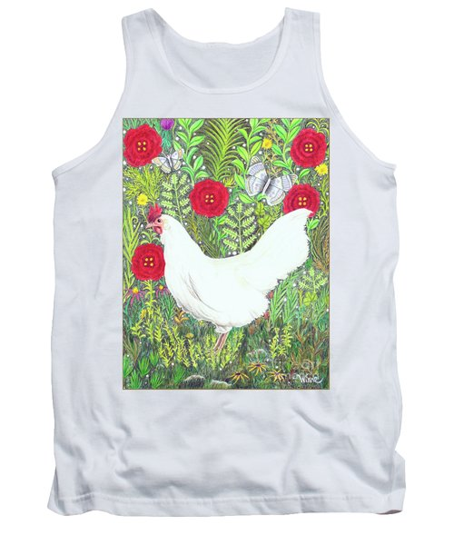 Chicken With Millefleurs And Butterflies  Tank Top