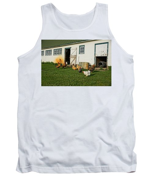 Chickens By The Barn Tank Top by Steven Clipperton
