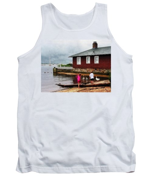 Children Playing At Harbor Essex Ct Tank Top by Susan Savad