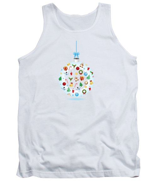 Christmas Bulb Art And Greeting Card Tank Top