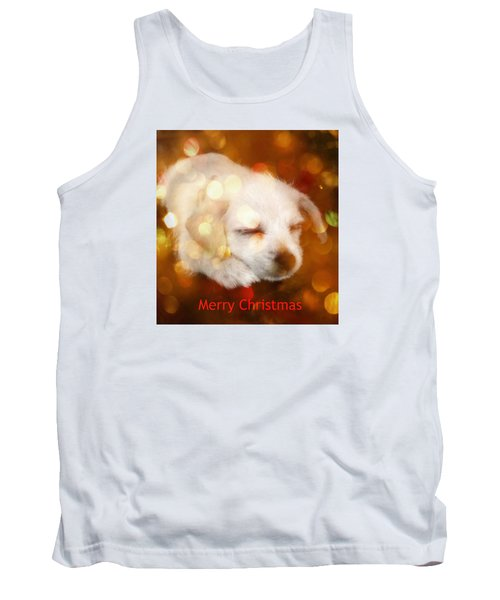 Tank Top featuring the photograph Christmas Puppy by Amanda Eberly-Kudamik