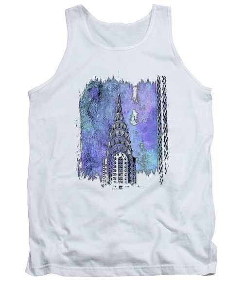 Chrysler Spire Berry Blues 3 Dimensional Tank Top by Di Designs