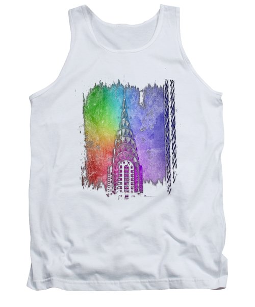 Chrysler Spire Cool Rainbow 3 Dimensional Tank Top by Di Designs