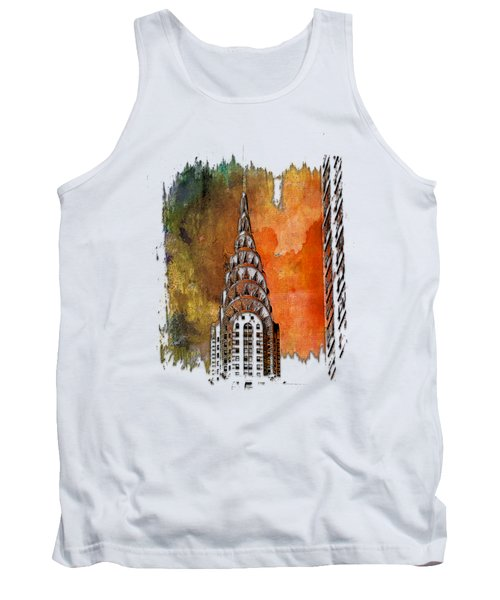 Chrysler Spire Earthy Rainbow 3 Dimensional Tank Top by Di Designs