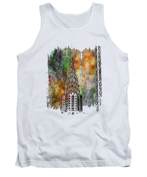Chrysler Spire Muted Rainbow 3 Dimensional Tank Top by Di Designs