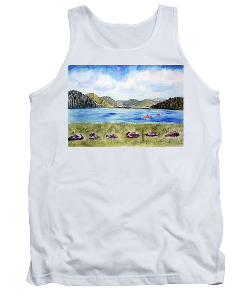Tank Top featuring the painting Chrystal Lake  Barton Vt  by Donna Walsh