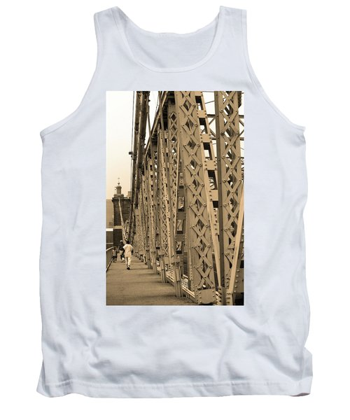 Cincinnati - Roebling Bridge 3 Sepia Tank Top by Frank Romeo