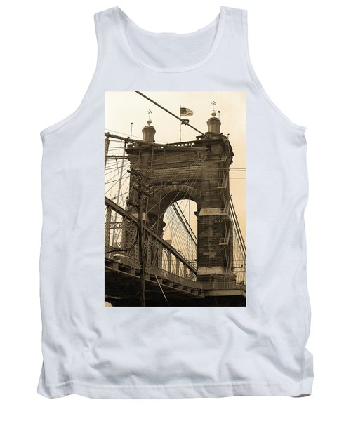 Cincinnati - Roebling Bridge 4 Sepia Tank Top by Frank Romeo
