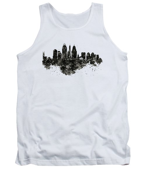 Tank Top featuring the mixed media Cincinnati Skyline Black And White by Marian Voicu
