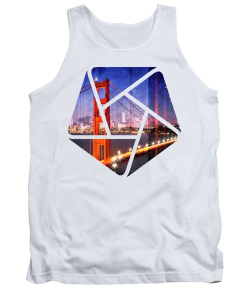 City Art Golden Gate Bridge Composing Tank Top by Melanie Viola