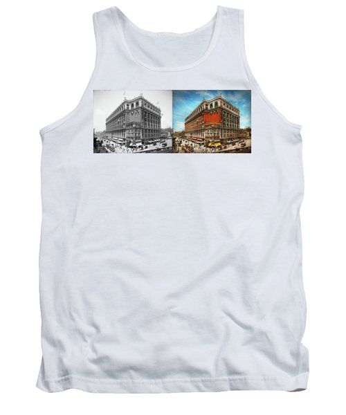 Tank Top featuring the photograph City - Ny New York - The Nation's Largest Dept Store 1908 - Side by Mike Savad
