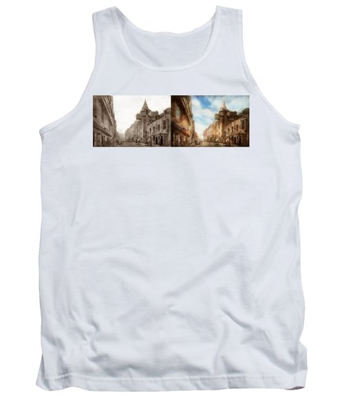Tank Top featuring the photograph City - Scotland - Tolbooth Operator 1865 - Side By Side by Mike Savad