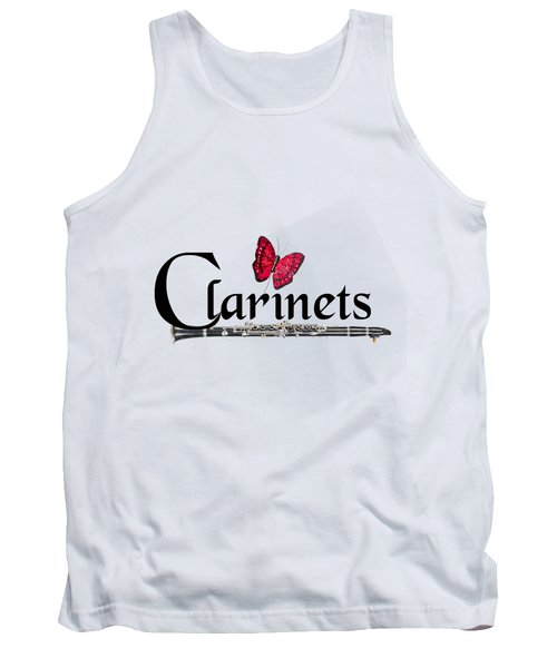 Clarinets And Butterfly Tank Top by M K  Miller