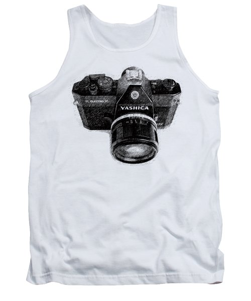 Tank Top featuring the drawing Classic Yashica Slr Film Camera by Edward Fielding