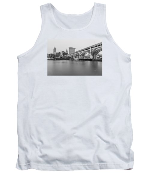 Cleveland Skyline In Black And White  Tank Top by John McGraw