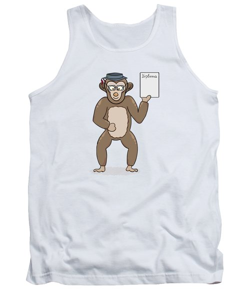 Clever Monkey With Diploma Tank Top