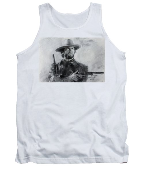 Tank Top featuring the drawing Clint Eastwood by Viola El