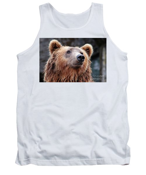 Tank Top featuring the photograph Close Up Bear by MGL Meiklejohn Graphics Licensing