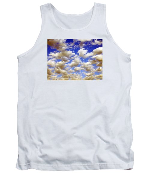 Tank Top featuring the digital art Clouds Blue Sky by Jana Russon