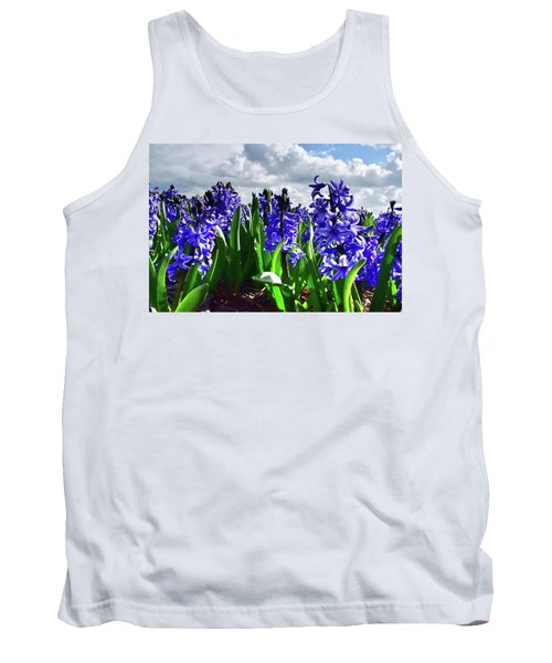 Clouds Over The Purple Hyacinth Field Tank Top by Mihaela Pater