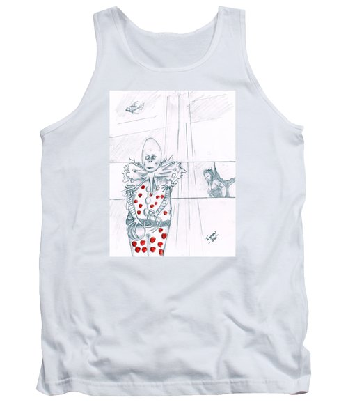 Clown With Crystal Ball And Mermaid Tank Top