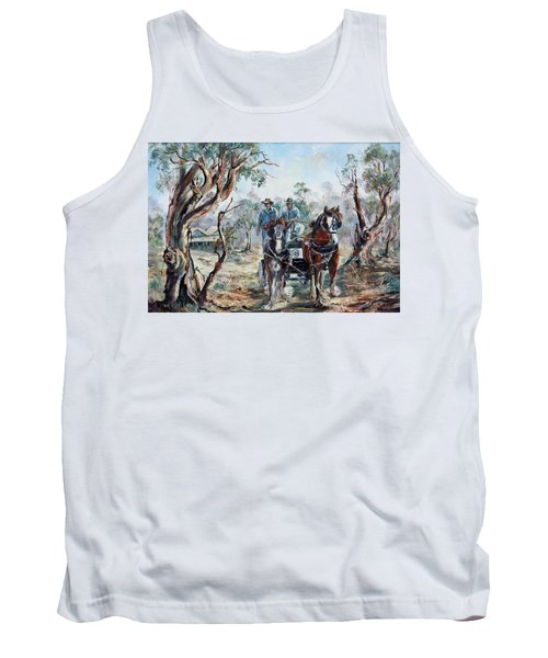 Tank Top featuring the painting Clydesdales And Cart by Ryn Shell