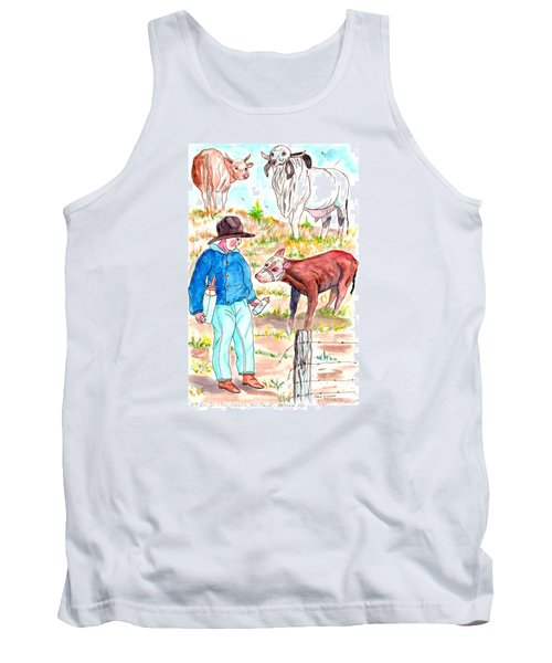 Coaxing The Herd Home Tank Top by Philip Bracco
