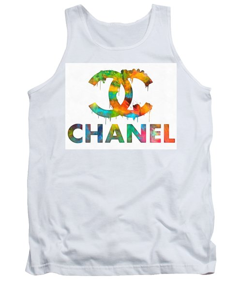 Coco Chanel Paint Splatter Color Tank Top by Dan Sproul