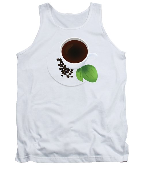 Coffee Cup On Saucer With Beans Tank Top by Serena King