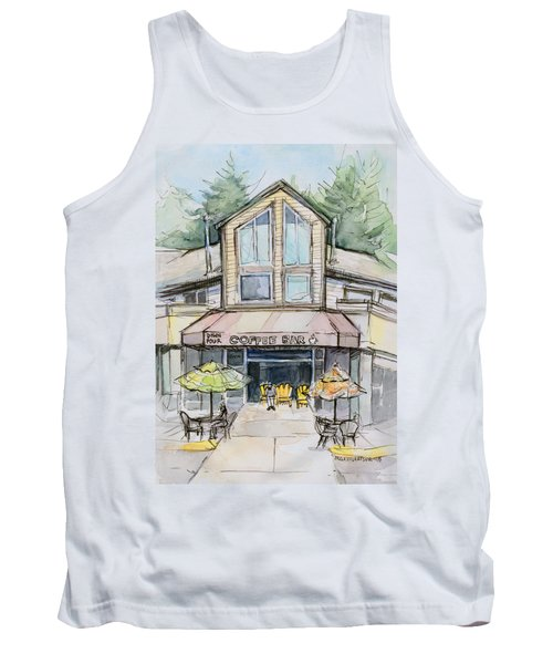 Coffee Shop Watercolor Sketch Tank Top