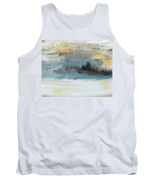 Cold Day Lakeside Abstract Landscape Tank Top
