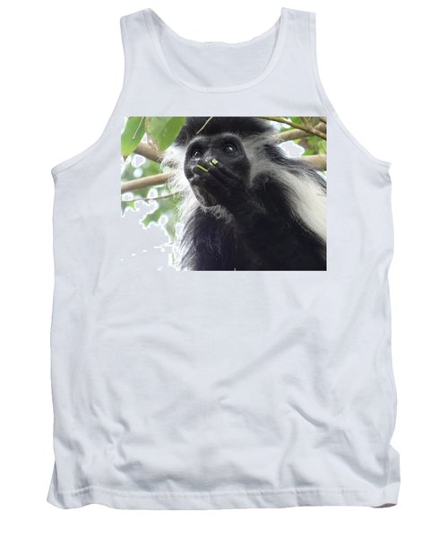 Colobus Monkey Eating Leaves In A Tree 2 Tank Top