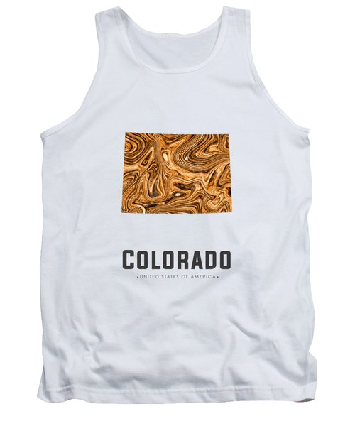 Colorado Map Art Abstract In Brown Tank Top