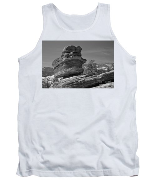 Tank Top featuring the photograph Colorado Springs Balanced Rock Black And White by Adam Jewell