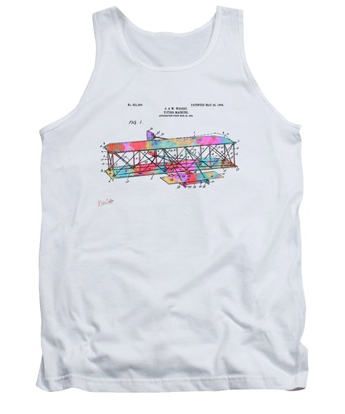 Colorful 1906 Wright Brothers Flying Machine Patent Tank Top