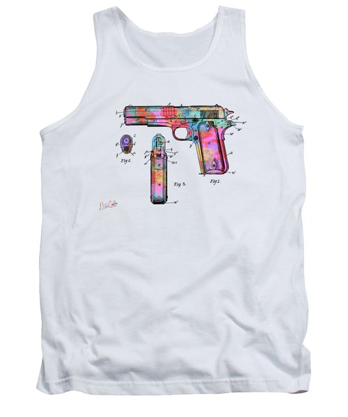 Colorful 1911 Colt 45 Browning Firearm Patent Artwork Minimal Tank Top