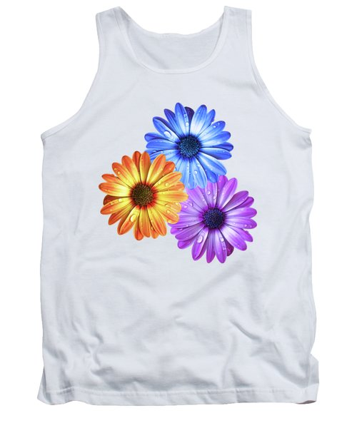 Colorful Daisies With Water Drops On White Tank Top