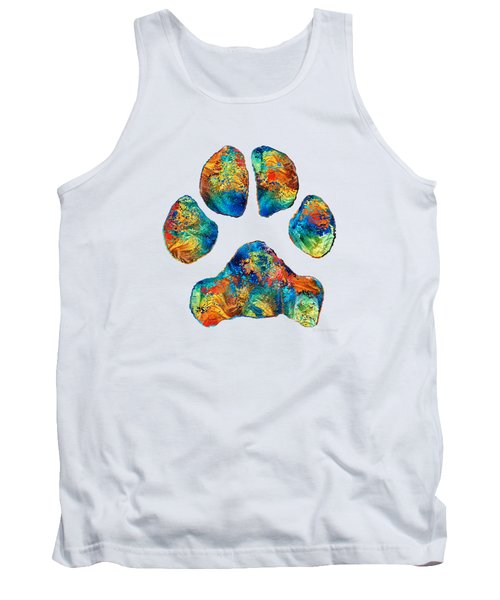 Colorful Dog Paw Print By Sharon Cummings Tank Top